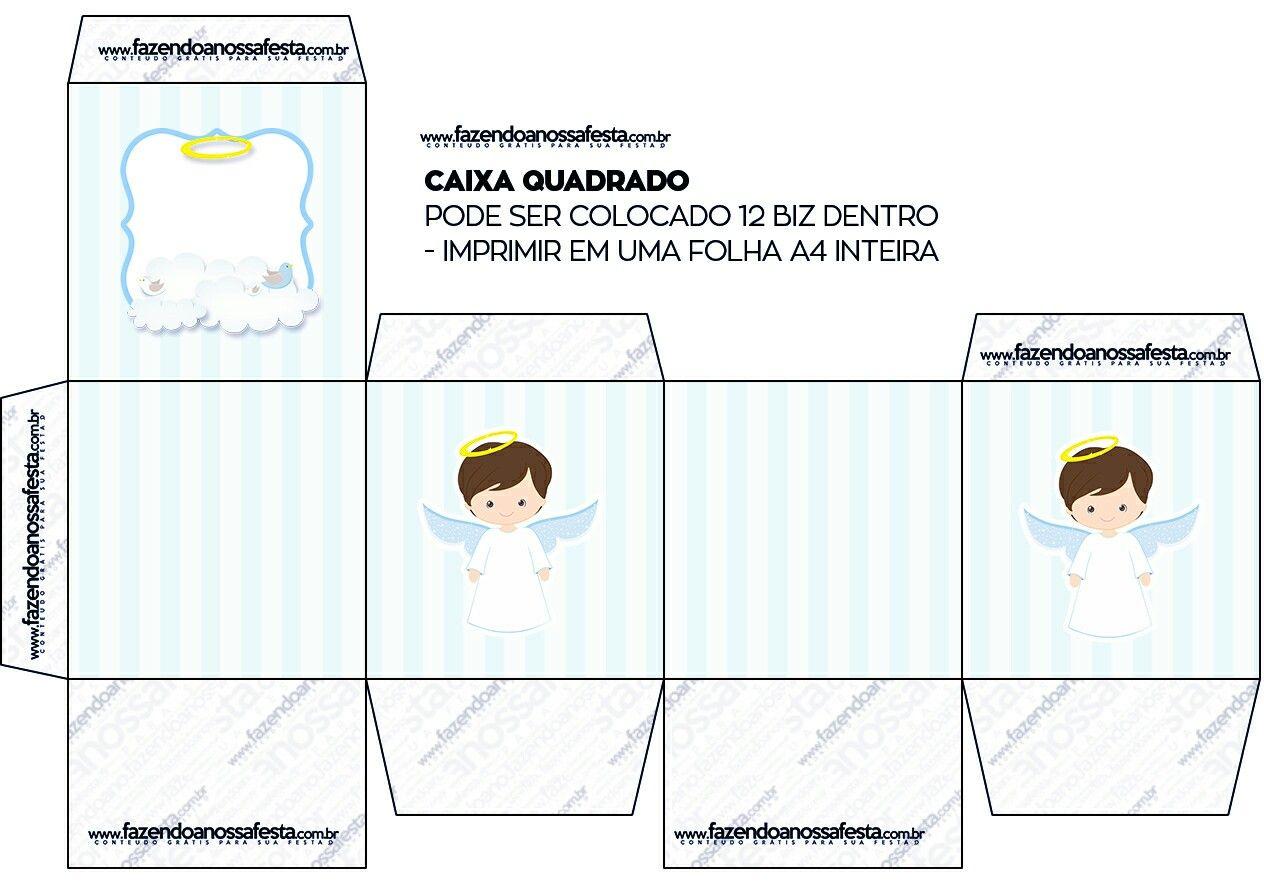 Cajitas Para Bautizo Nino.Caja Cubo Angel Moreno Bautismo Y Comunion Imprimibles