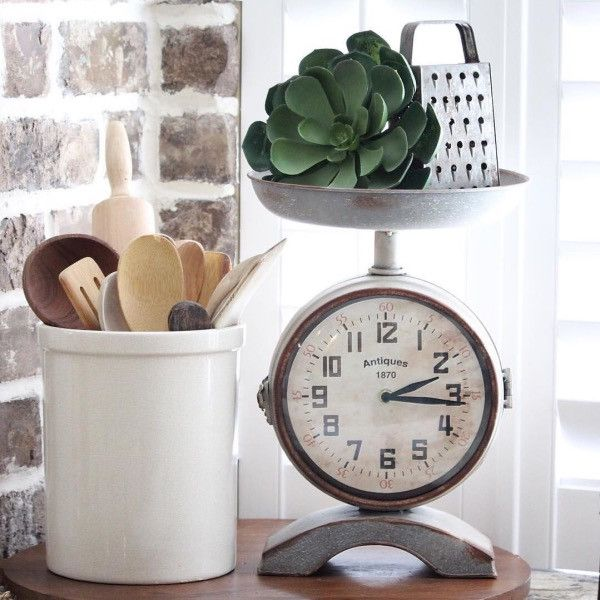 This Vintage Style Scale Clock Is Perfect For Your Farmhouse Kitchen. Its Made Of Metal With A