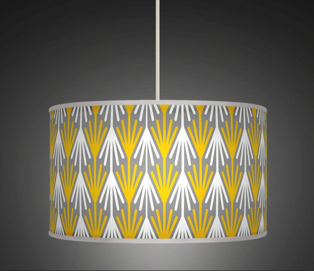Mustard Yello Retro Printed Handmade Drum Pendant Ceiling Light ...