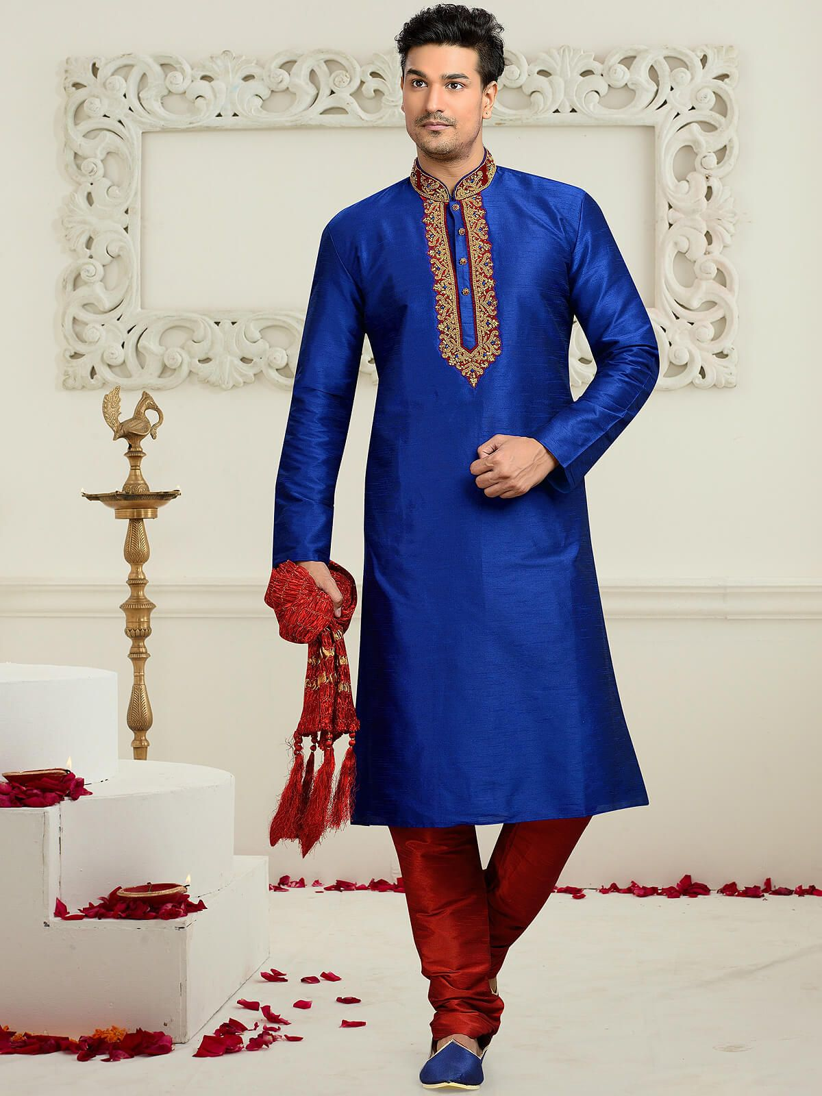 Intriguing blue and red wedding wear dupion kurta pyjama having