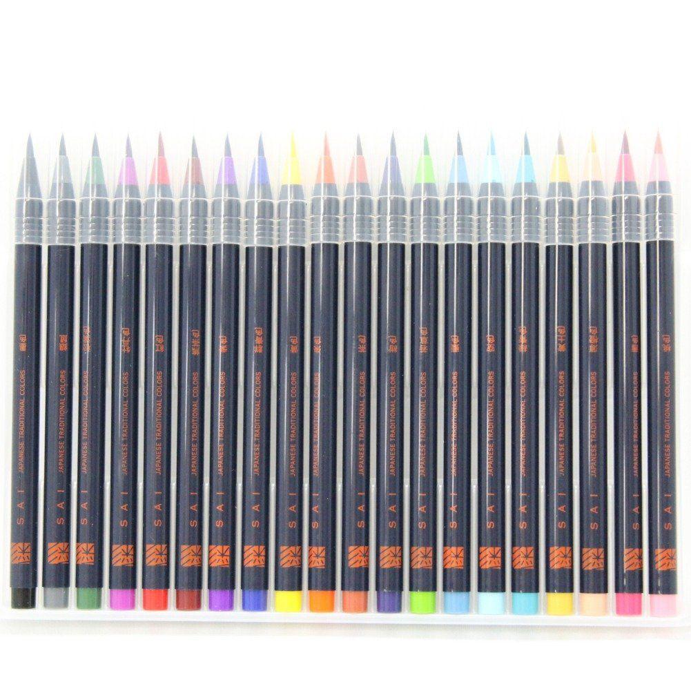 Amazon Com Akashiya Sai Watercolor Brush Pen 20 Color Set 1
