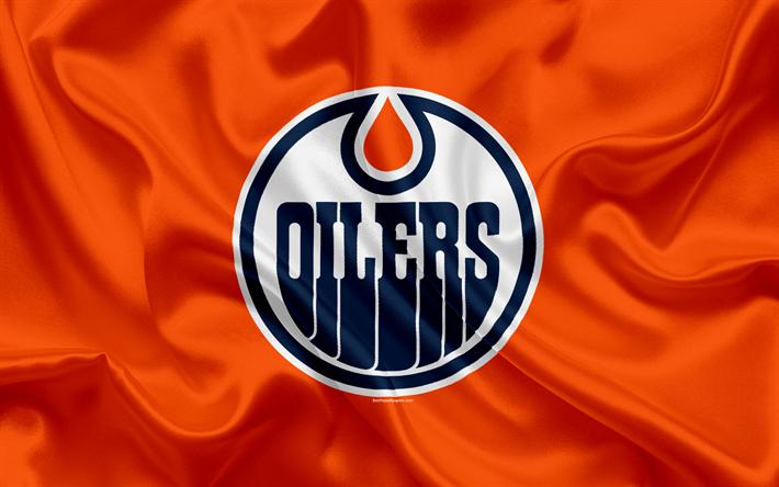 Download wallpapers Edmonton Oilers, hockey club, NHL, emblem, logo, National Hockey League, hockey, Edmonton, Canada