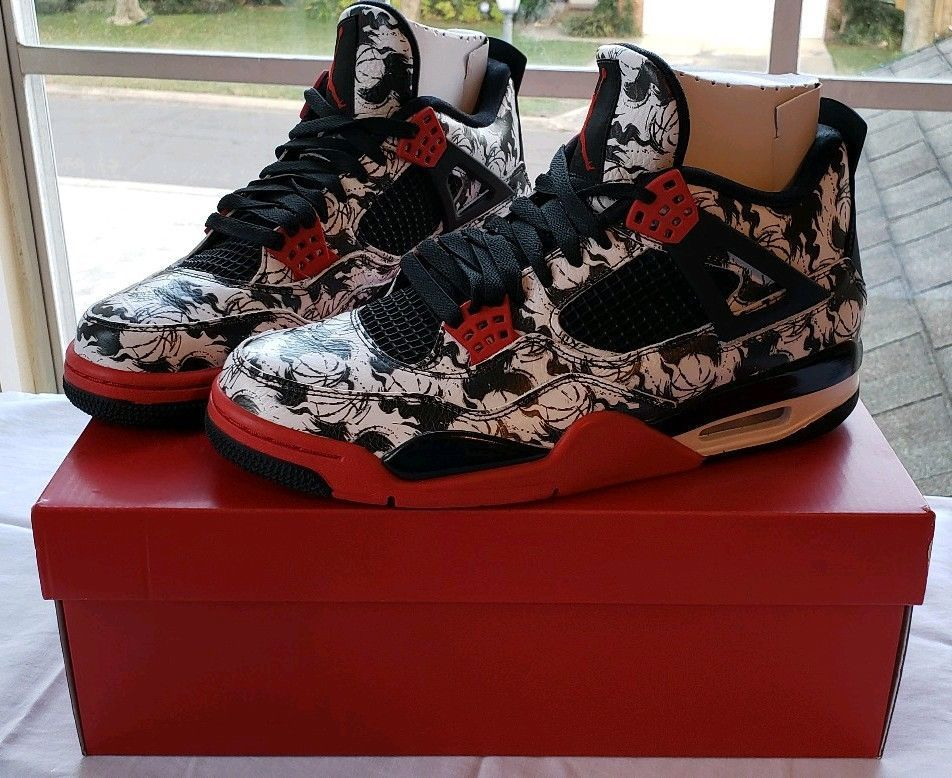 Nike Air Jordan 4 Retro Tattoo Size Us Sz 9 5 Bq0897 006 Black Fire