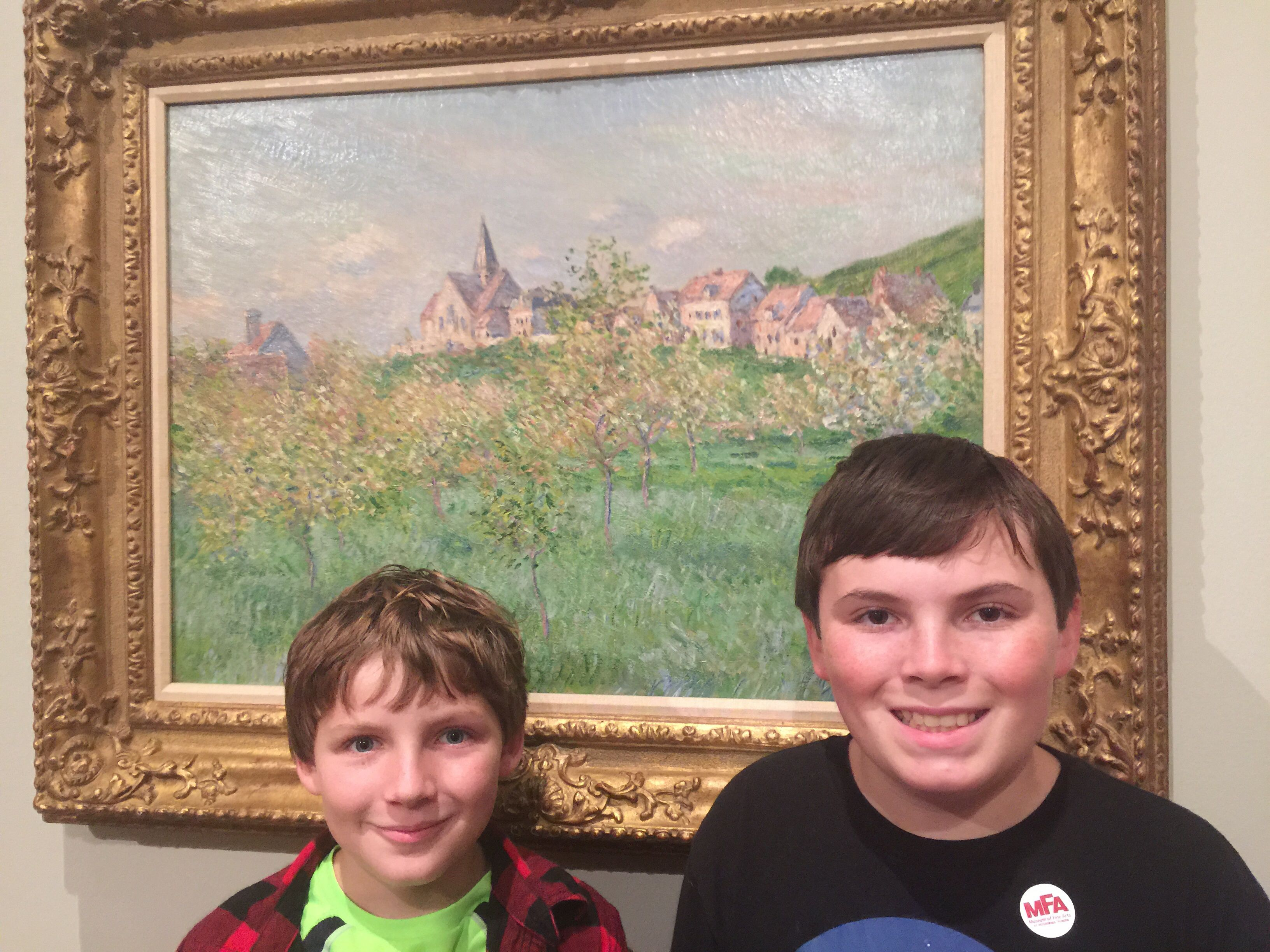 Boys by Claude Monet painting, Springtime at Giverny, at MFA St. Pete