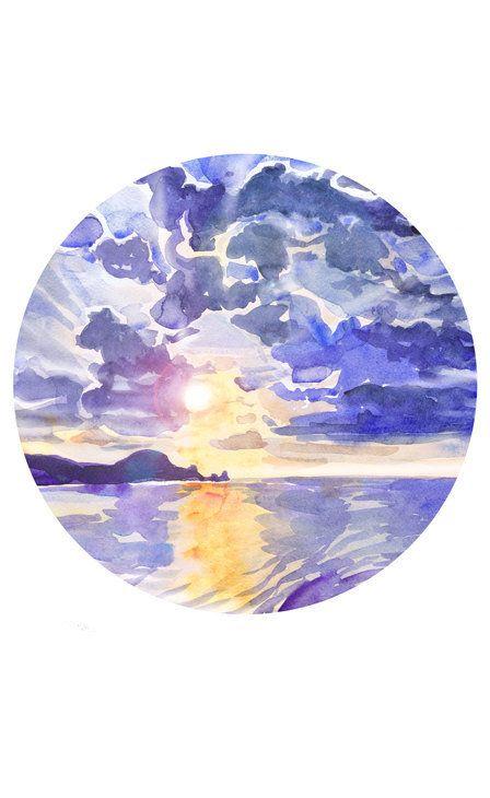 Sunset Painting Circle Art Sunrise Wall Art Ocean Watercolor Landscape Sky Round Nautical Prints Sea Abstract Seas Circle Art Sunset Painting Circle Painting