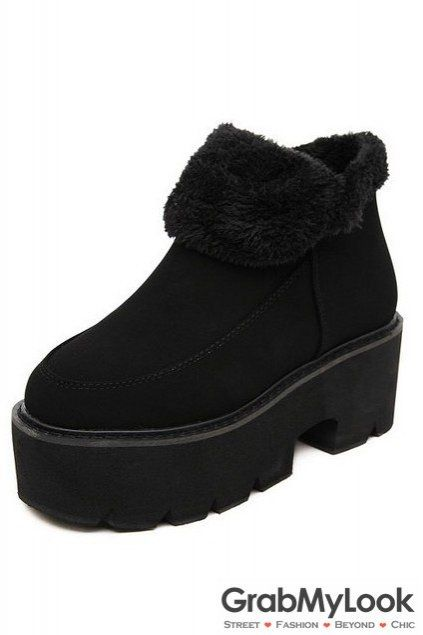 3b39582d6be Suede Ankle Black Woolen Platforms Big Heels Chunky Ankle Boots ...