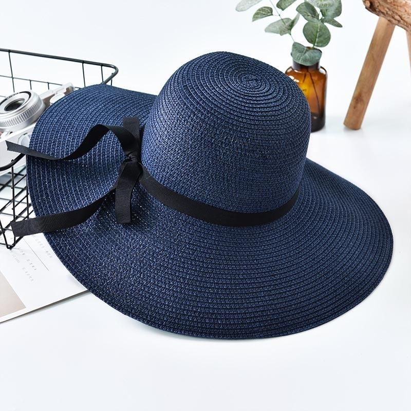 Straw Hat Women Big Wide Brim Beach Hat Floppy Foldable Uv Protection Sun Hat In 2021 Summer Straw Hat Sun Hats For Women Womens Straw Hats