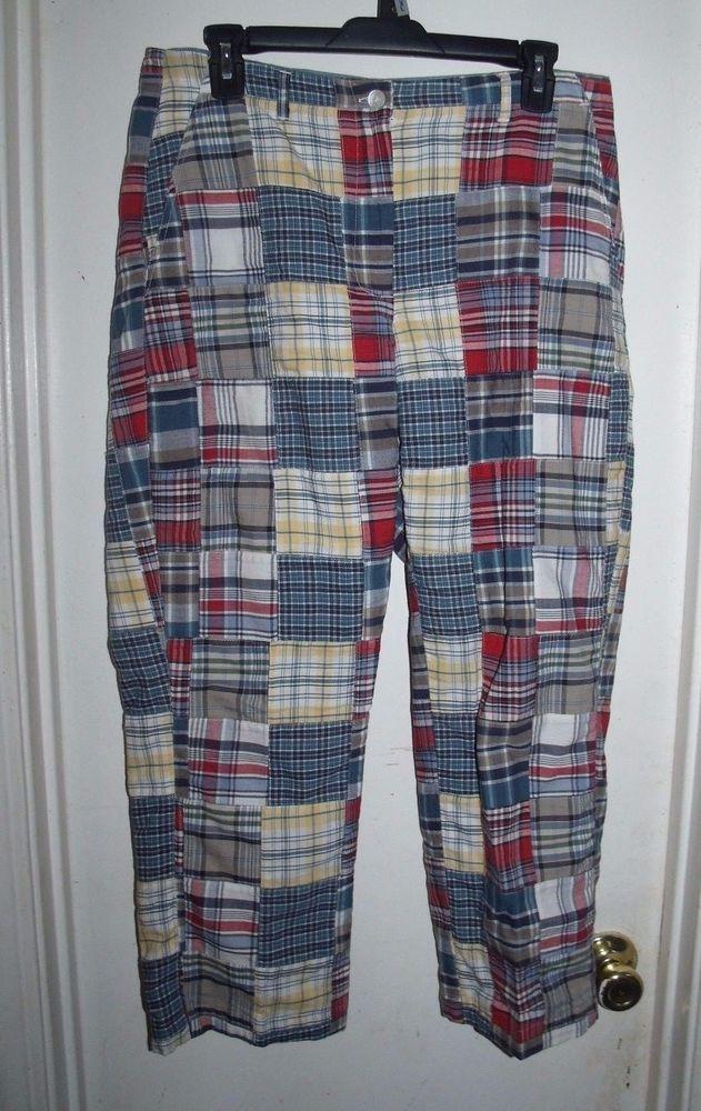 135a85a351 Orvis Ladies Madras Plaid Patchwork Capri Pants 8 100% Cotton  Orvis   CaprisCropped