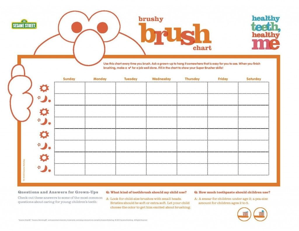 Brush Your Teeth With Elmo Brushy Brush Chart Thetoothstation