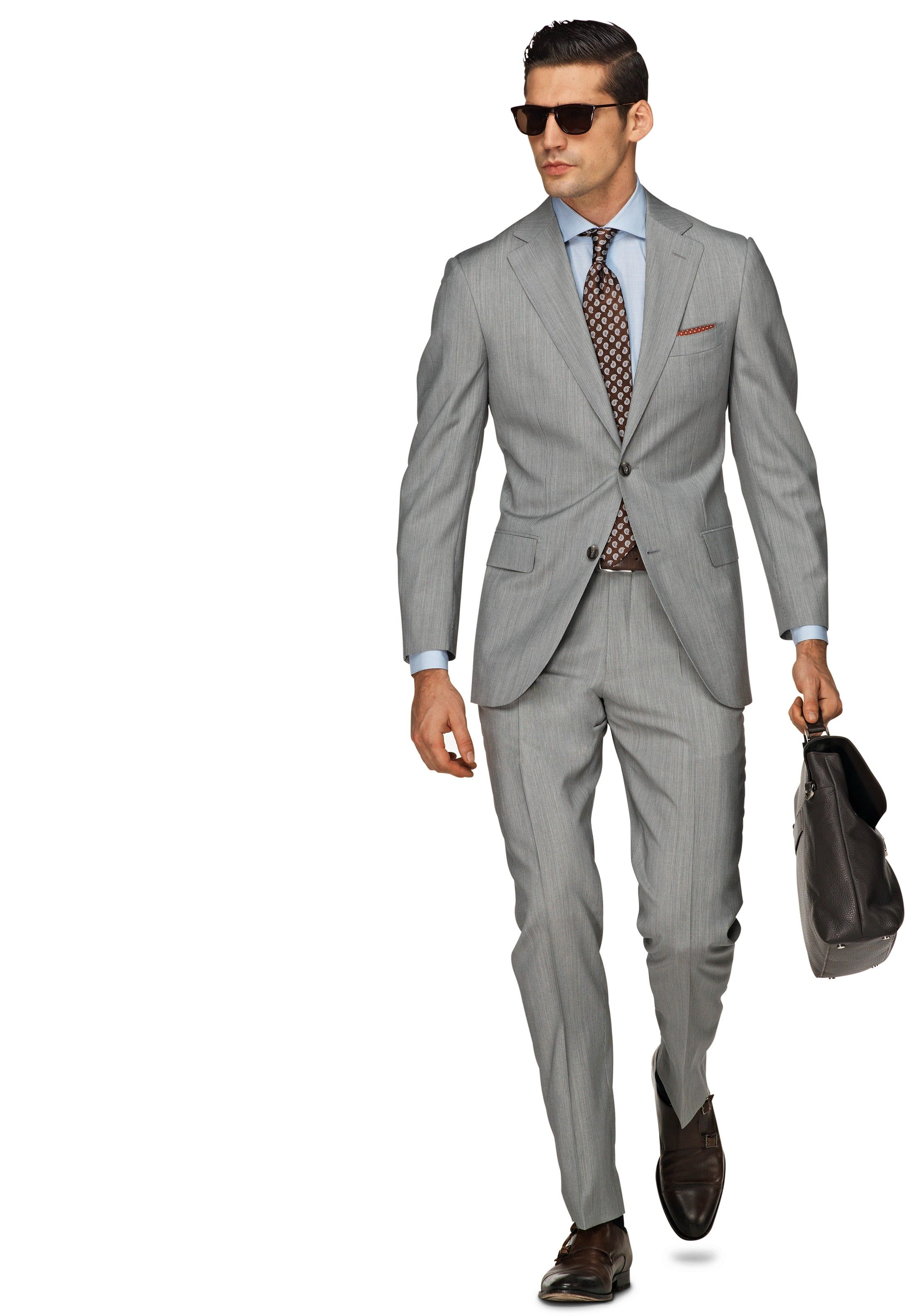 Men's Clothing Fashion Style Suitsupply Gray Blue Line Napoli Wool Suit 44l Clothing, Shoes & Accessories