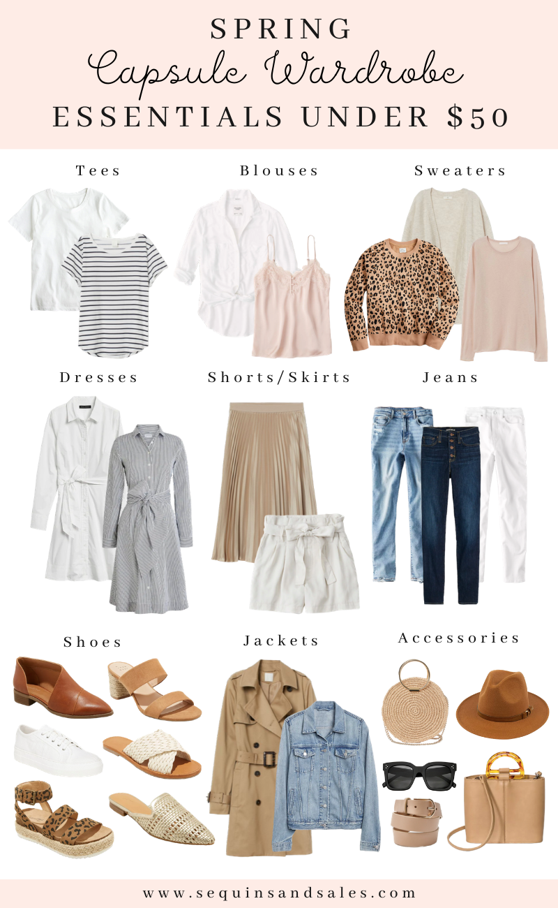 Spring Capsule Wardrobe Essentials Under $50 - Sequins and Sales