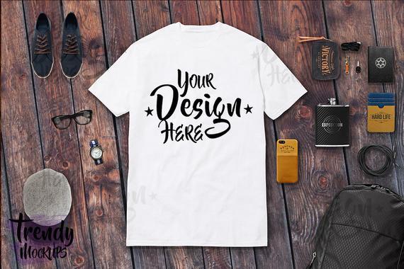 7f7d652c3884 Tshirt Mockup, White Men Tshirt, Flat Lay W/Shorts, Tshirt Masculine Flat