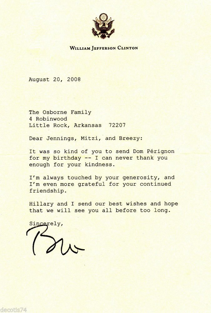 Bill Clinton Autograph Signed Letter Typed On Bill Clinton