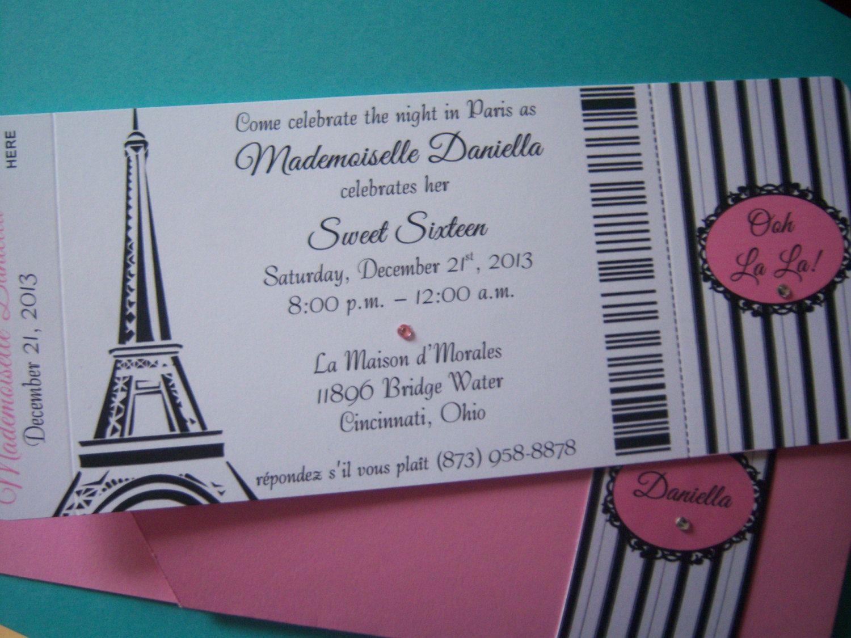 Passport To Paris Sweet 16 Quinceanera Birthday Party Invitations