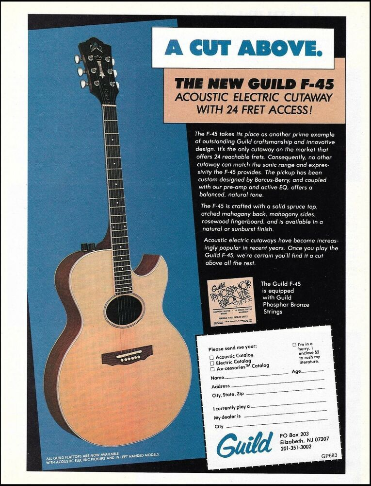 Guild F 45 Acoustic Electric Cutaway Flat Top Guitar Ad 8 X 11 Advertisement Guild In 2020 Acoustic Electric Guitar Acoustic