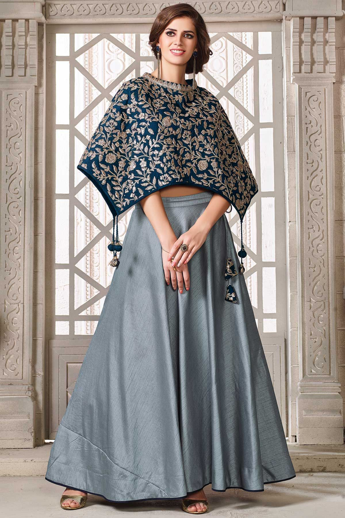 ad26025c49425 Blue Heavy Embroidered Stylist Crop Top  Indowestern  Embroidered  Lehenga  at affordable price