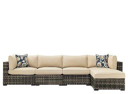 Outdoor Modular Sofa And Ottoman W/ Sunbrella