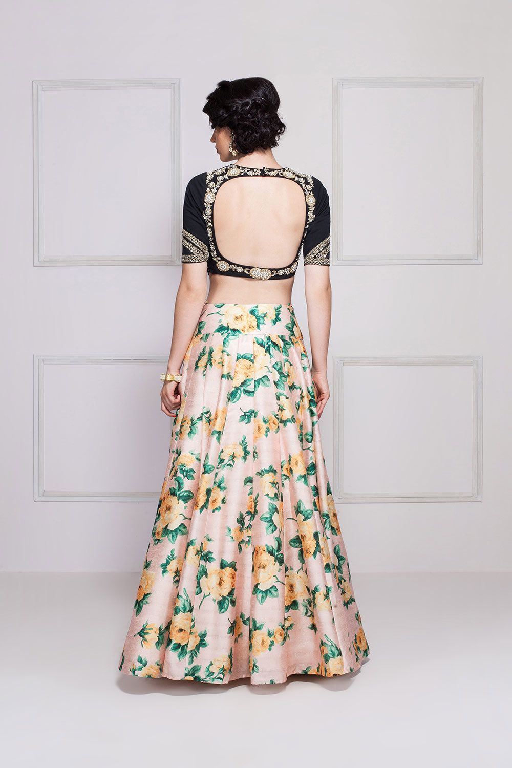 Sonali gupta black u peach floral lehenga set with dabka