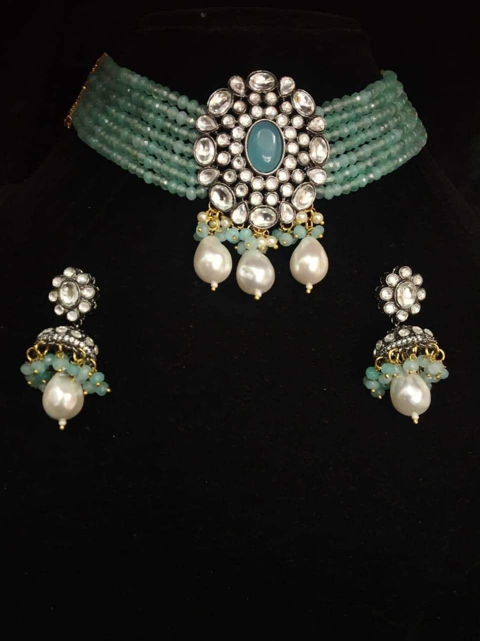 Diamond Polki Kundan Silver Polish Oxidized work/