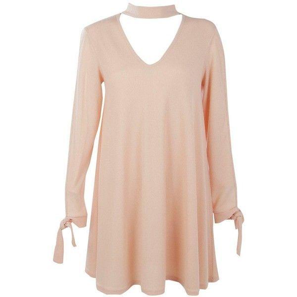 11cd3e60f435 Boohoo Leila Choker Sleeve Detail Rib Knit Swing Dress ( 14) ❤ liked on  Polyvore