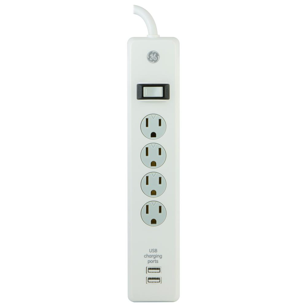 Ge 4 Outlet 2 Usb Surge Protector With 3 Ft Cord White 14090 Usb Surveillance System Computer Accessories