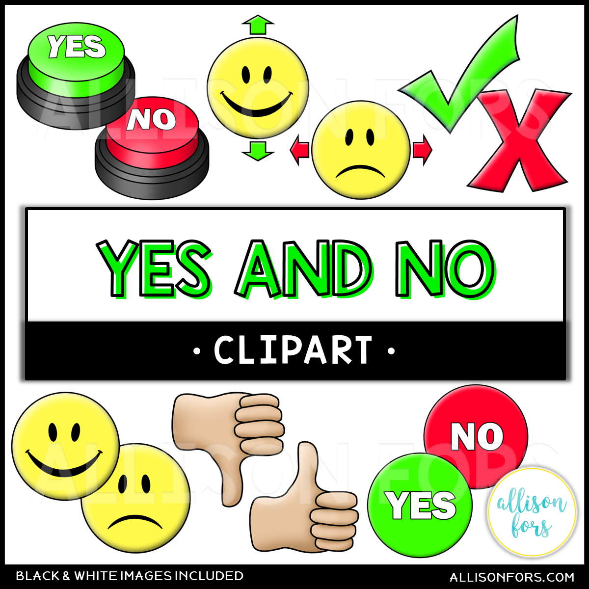 hight resolution of yes and no clipart for educational resources use as visuals in speech therapy or special education classrooms includes head nod and shake thumbs up and