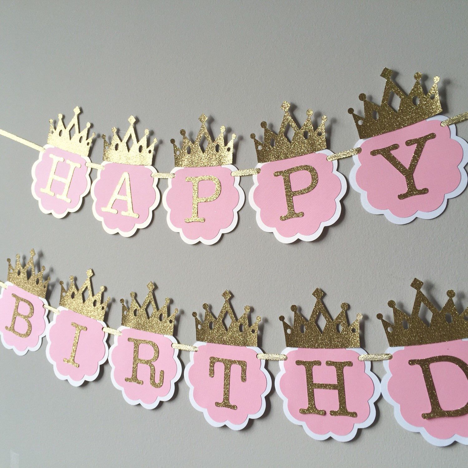 Pink And Gold Happy 1st Birthday Banner Princess Crown