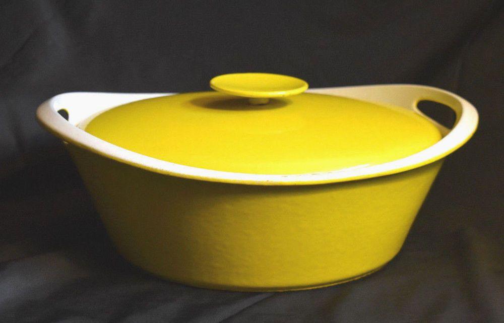 Nacco Denmark Yellow Enamelware Large Cast Iron Pan W Lid 101e Vintage Retro Nacco Enamelware Cookware And Bakeware Cast Iron
