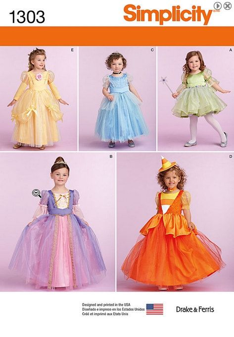 Simplicity 1303 Princess Costume Sewing Pattern: Belle, Cinderella ...