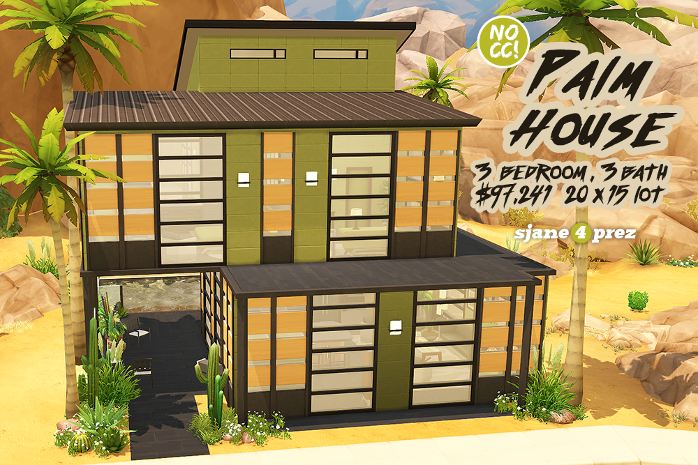 A Super Modern Desert House Decorated In Greens, Browns, Black And, As You  Can See, LOADED With Windows! This Lot Is CC Free ...
