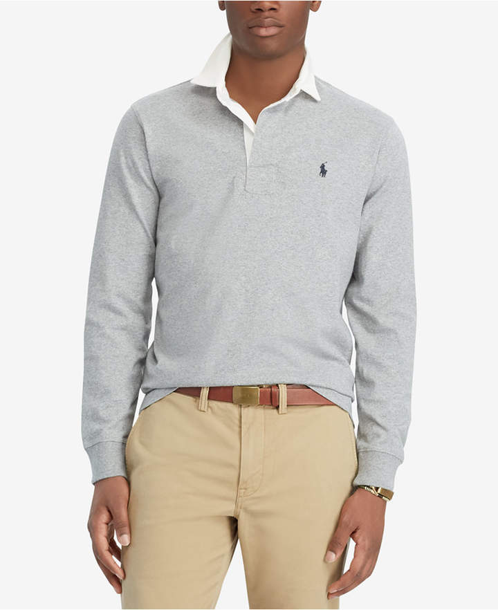 Polo Ralph Lauren Men/'s Gray Heather Iconic Rugby Polo Shirt