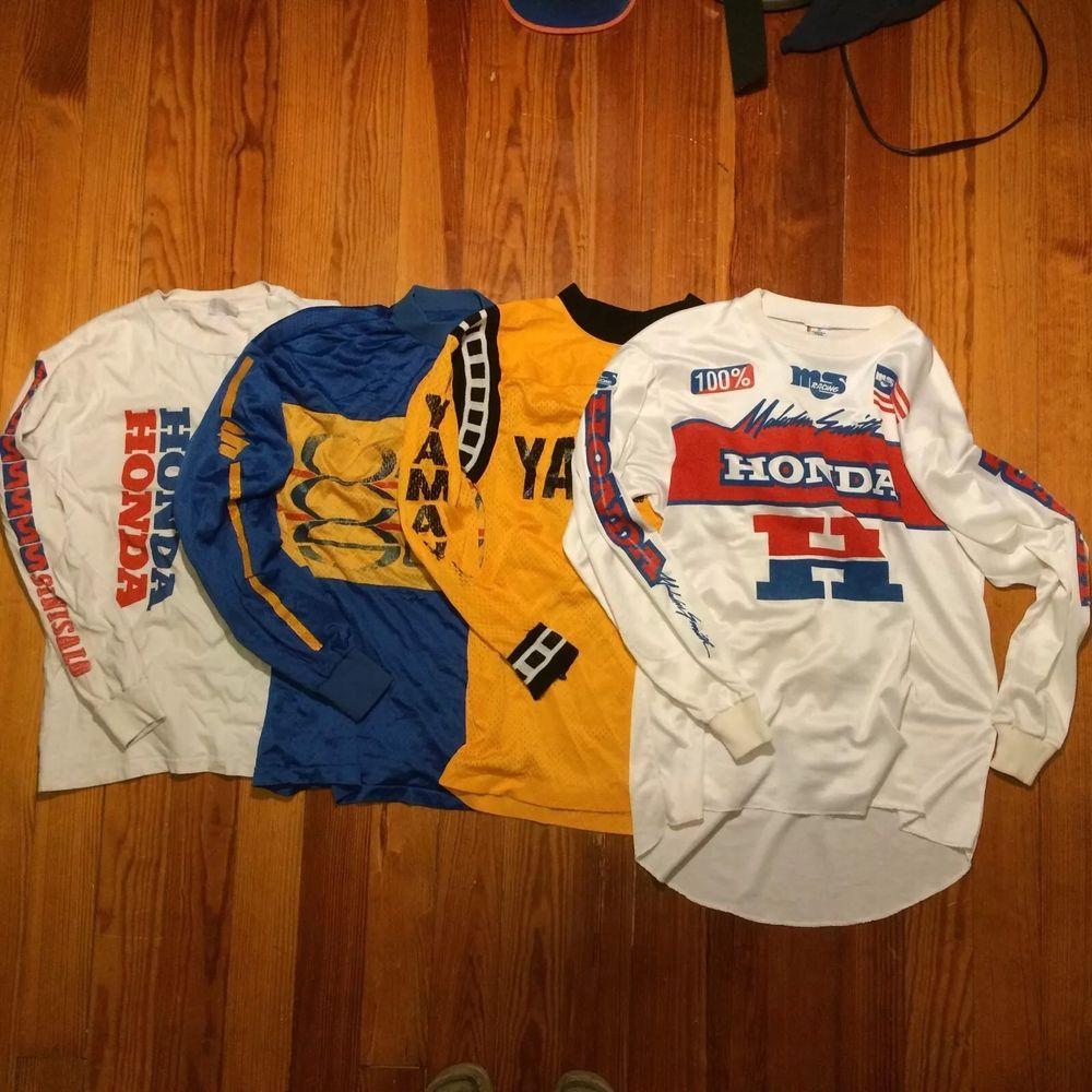 lot of 3 vintage motocross jerseys 1 shirt. honda suzuki yamaha