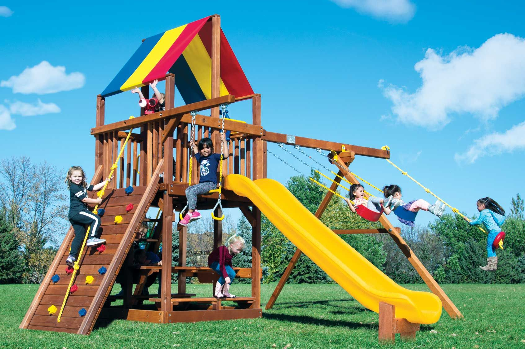 Rainbow Clubhouse Playsets Swing set, Rainbow play