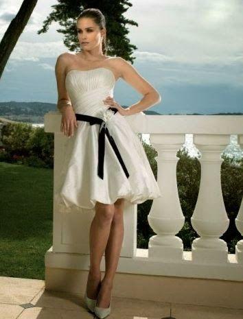 QueUsar.com: Vestido de Novia Corto, Strapless y con Cinturon N ...
