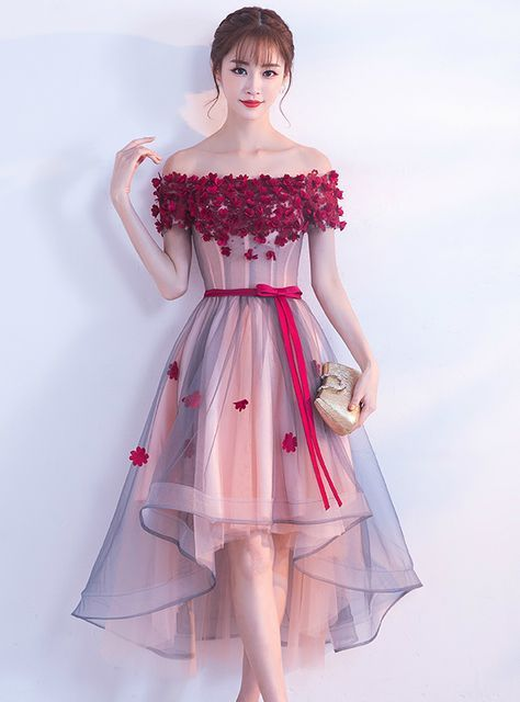 In Stock:Ship in 48 hours Pink Off The Shoulder Tulle Hi Lo Dress #sweetsixteen