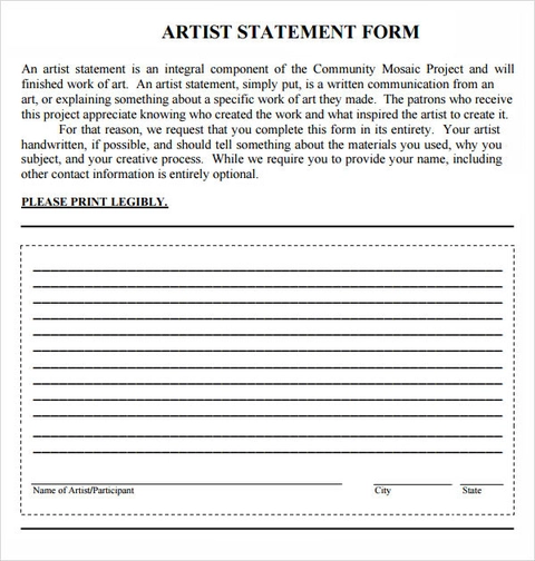 FREE 8+ Sample Free Artist Statements in PDF Word