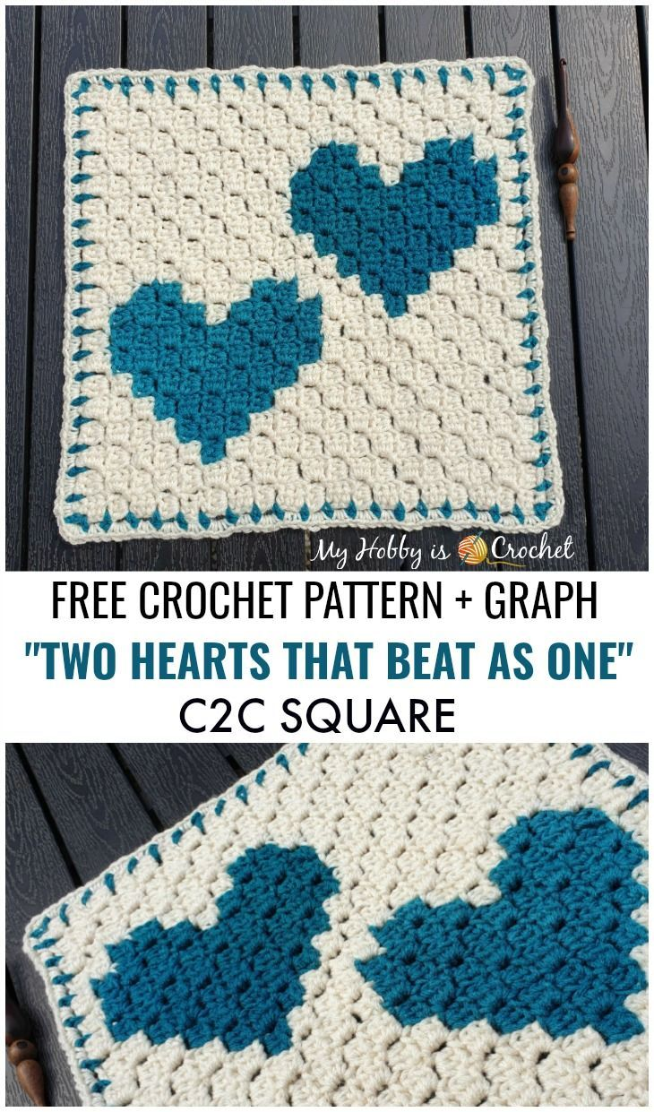 Two Hearts that beat as One C2C Square - Free Crochet Pattern + Graph (Wedding Blanket CAL!) + Video Tutorial #crochetyarn
