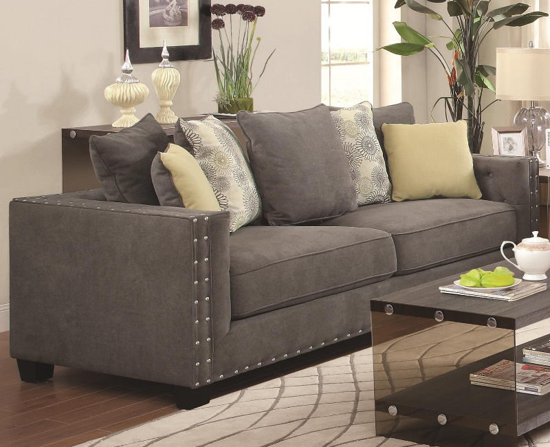 Best Charcoal Sofa With Nailhead Trim Grey Living Room Sets 400 x 300