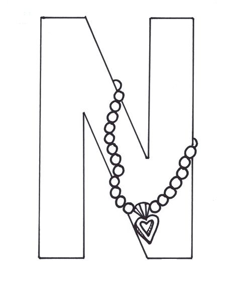 Letter N Is For Necklace Coloring Pages Coloring Pages Color