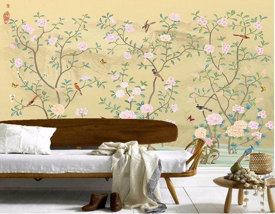 Custom Elegant Chinese flower and bird painting wallpaper papel de ...