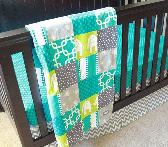 Custom Crib bedding  Turquoise Grey and Lime by GiggleSixBaby, $243.00 is this too boy?