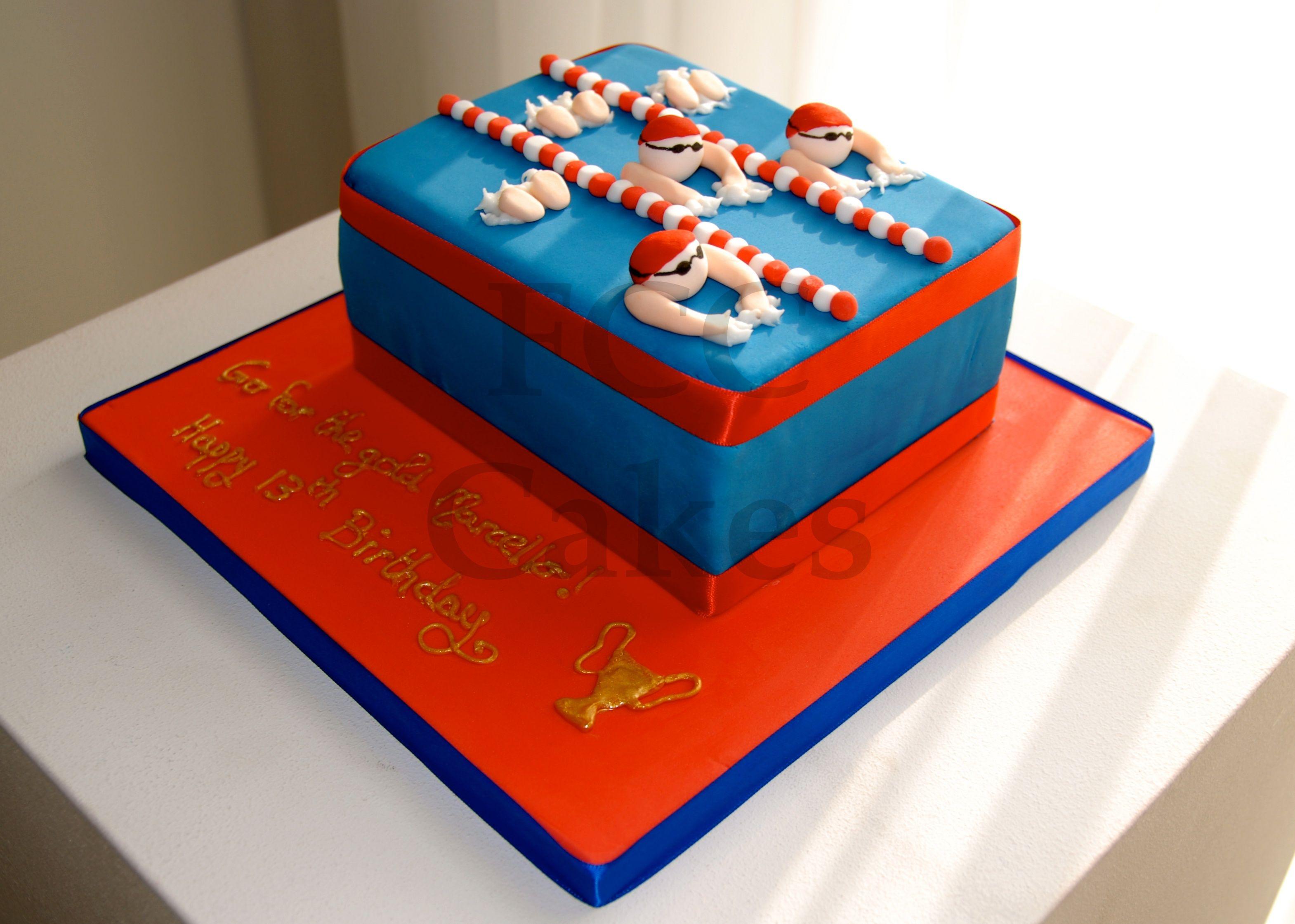 White stuff gateaux apron - Sporty Cake Swimming Gateau D Anniversaire Sport Natation Verjaardagstaart Sport