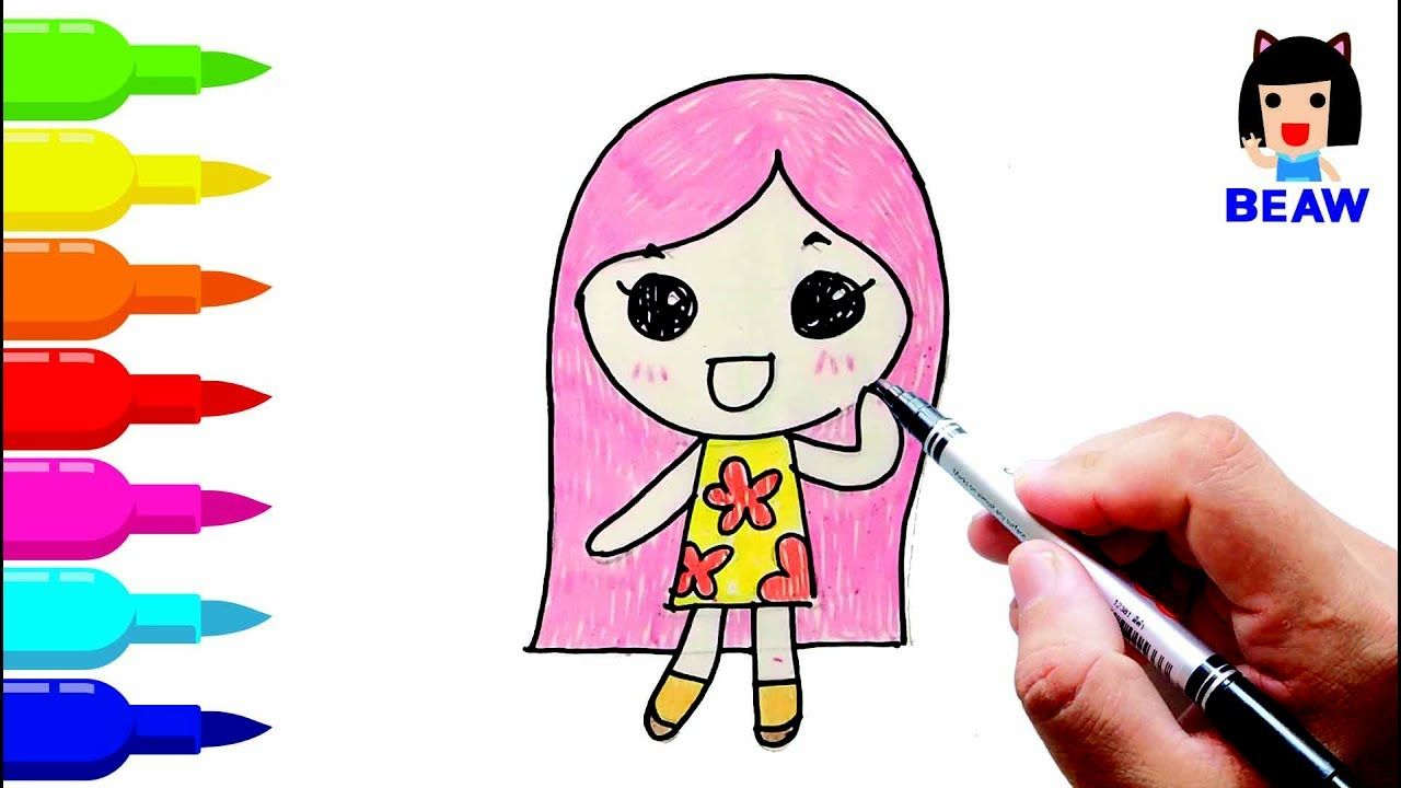 Uncategorized How To Draw A Girl For Kids how to draw girl cartoon cute coloring pages for kids kids
