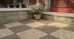 Permeable paving slabs, perfect for patio areas. Lay them onto crushed stone for a fully permeable base.