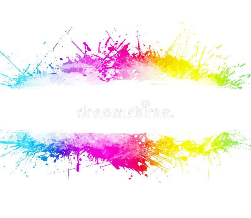 Rainbow Washed Watercolor Splatter Background Rainbow Splatter