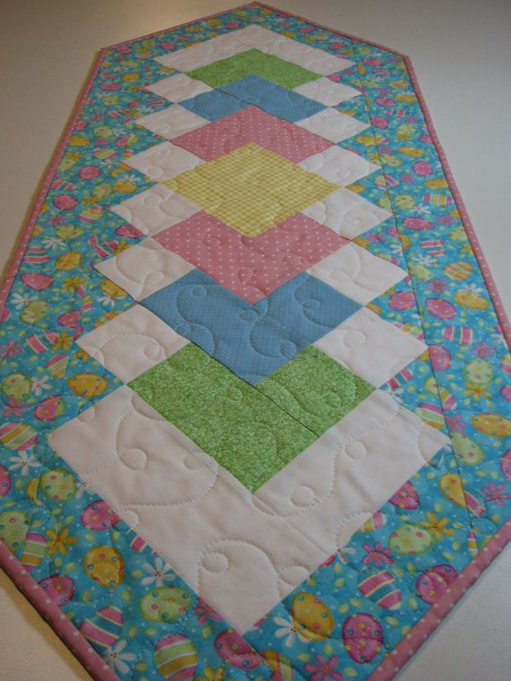 Easter Quilted Table Runner  Spring Table Runner  by VillageQuilts