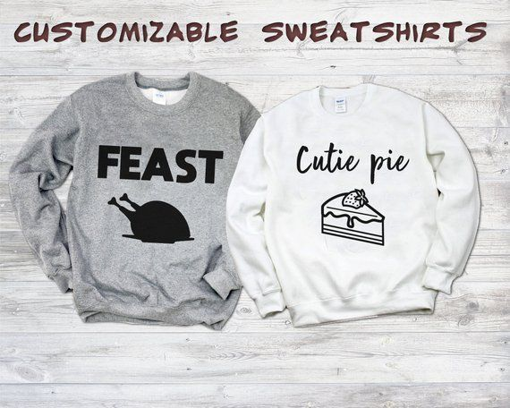 8d8acbb67621 Thanksgiving couple sweaters, Feast sweater, Cutie pie sweater, Matching  outfit, Matching couple shirts, Thanksgiving shirt, Unisex Sweater