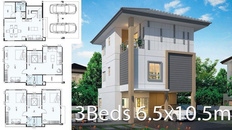 Home Design 6 5x10 5m With 3 Bedrooms Home Ideas Bungalow Style House Plans House Design Craftsman House Plans