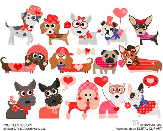Valentine Dogs Clip Art For Personal And Commercial Use Instant