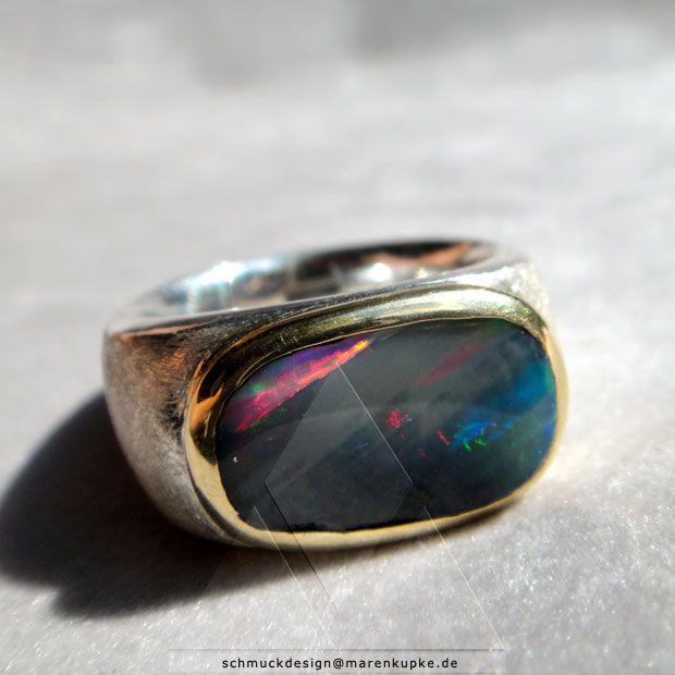 Ring mit Boulderopal Massiv Silber mit 900/- Fassung